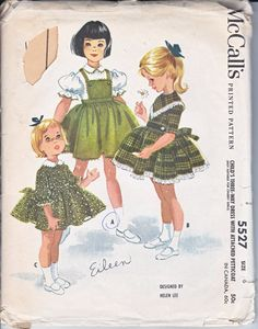 McCalls 5527 Girls Frock Party Dress Vintage 60s Helen Lee Sewing Pattern Size 6 Out of Print Hard to Find