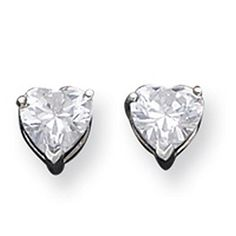 IceCarats Designer Jewelry Sterling Silver 7Mm Heart Cz Post Earrings -- See this great product.