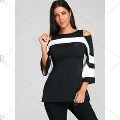 Flare Sleeve Cold Shoulder Two Tone Blouse - Black Xl Mobile
