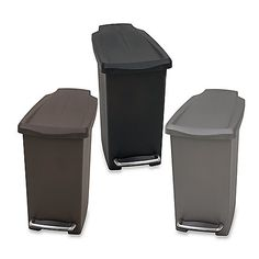 The mini slim plastic step can features a steel accent pedal for added durability. A slim, narrow shape makes this small trash can a great fit next to a desk or in a bathroom.