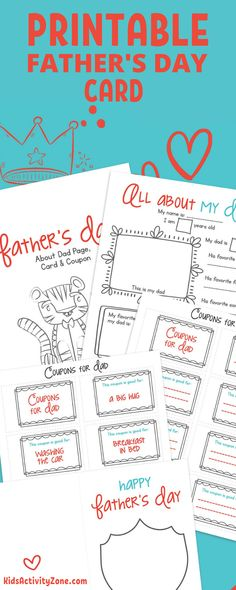"""It's almost Father's Day and these free Father's Day Printables are so easy to do with kids, plus the perfect keepsake. It included an """"All About My Dad"""" Printable page which is always a treasured keepsake for years to come. Also included is a free printable card to have the kids color and decorate for Dad! Rainy Day Fun, Rainy Day Crafts, Fathers Day Crafts, Happy Fathers Day, Free Printable Cards, Printable Crafts, Party Printables, Easy Arts And Crafts, Fun Crafts For Kids"""