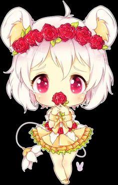Cute chibi bear girl with flowers .