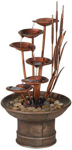 Water Lilies and Cat Tails 33 High Rustic Garden Fountain Water Fountain For Home, Decorative Water Fountain, Cat Fountain, Garden Water Fountains, Fountain Design, Water Garden, Fountain Ideas, Outdoor Fountains, Water Flowers