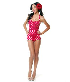 Vintage Inspired Swimsuit 50's Style Pin Up Red With White Polka Dot Bathing Suit - 6-18 - Unique Vintage - Cocktail, Pinup, Holiday & Prom Dresses.
