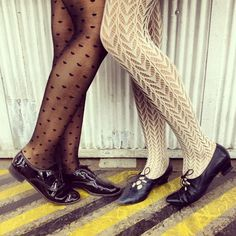 Patterned hosiery and shoes at the factory today. #tights #hosiery #AmericanApparel