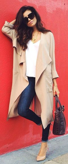 Khaki Plain No Button Pocket Turndown Collar Long Sleeve Fall Fashion Trench Coat
