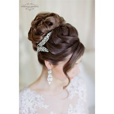 Top 25 Stylish Bridal Wedding Hairstyles for Long Hair ❤ liked on Polyvore featuring long hair accessories, bride hair accessories and bridal hair accessories