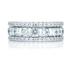 Three Row Prong Set Anniversary Ring from the A.JAFFE Metropolitan Collection. Full details at http://www.ajaffe.com/three-row-prong-set-anniversary-ring-wrs071 #anniversaryring #weddingring #diamondring
