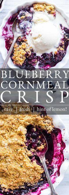 Summer blueberries are so scrumptious in this Blueberry Cornmeal Crisp. Lemon and cornmeal, play off sweet blueberries and add fabulous flavor and texture to this blueberry crisp. This recipe is vegetarian, easily gluten free and easily vegan. ___________ Blueberry Crisp | Summer Crisp | Blueberry Oat Crisp | Gluten Free Blueberry Crisp | Easy Summer Dessert. Easy Summer Desserts, Easy Desserts, Dessert Recipes, Gluten Free Vegetarian Recipes, Gluten Free Baking, Vegan Treats, Vegan Food, Italian Cream Cakes, Blueberry Crisp