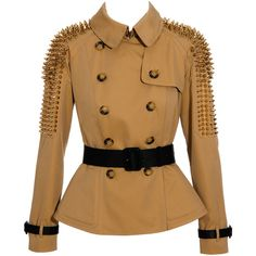 Gabardine peplum jacket with studs Burberry Prorsum ($3,450) ❤ liked on Polyvore featuring outerwear, jackets, coats, burberry, coats & jackets, women, brown jacket, long fitted jacket, long peplum jacket and spike studded jacket