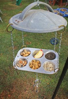 Upcycle some old household items or some yard sale finds into a one-of-a-kind bird feeder.