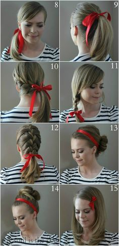 Hair Tutorial Ideas ???Casual French Braid15 Ways to Wear a RibbonThe PompadourThe Sleek Low PonytailHow to do Old Hollywood WavesThe Perfect PonyThe Rope BraidPerfectly Messy 5-Strand BraidHow To: Create Beachy WavesThe Ultimate Waterfall BraidNo Heat Curls   A Trick for Taming Frizzy CurlsTips for Growing Longer, Healthier HairTry It :: Don't Buy It - Hair Products4-Strand Headband Crown BraidZig Zag Dutch BraidThe Best Bangs for your Face ShapeUp Do with Twists and PinsFauk Hawk TwistsZig…