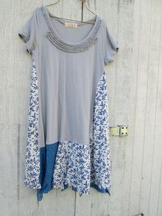 / Upcycled clothing / Funky Tshirt Dress / Eco Dress / Tattered Artsy