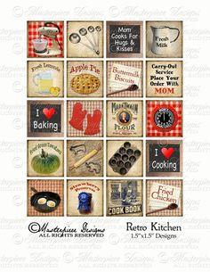 Retro Kitchen / Cooking / Baking - Digital JPG Collage Sheet at MasterpieceDesigns on etsy