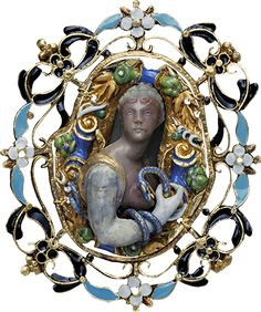 ALBION ART Historical Jewelry - Ancient Gold, agate, enamel brooch, 16th century, Private Collection.