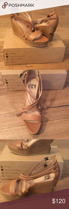 """Fortress of Inca Julia Isa Wedges Handmade. Premium Natural Materials. Fair Wages. Sustainable Production. These shoes are a dream. Soft leather. New in box. Wooden 4"""" wedge. Fortress of Inca Shoes Wedges"""