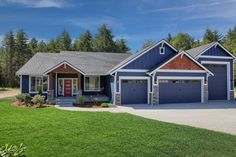 Deep Blue exterior with cedar accents and front porch entrance! Garage House Plans, Family House Plans, New House Plans, Rv Garage, Garage Doors, Style At Home, House Front, Front Porch, Porch Entrance