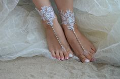 White Beach wedding barefoot sandals silver stripe by UnionTouch