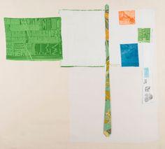 AIRPORT (Room Service), 1974 Rilievo e intaglio su tessuto con cravatta verde dell'artista applicati su tela, 163 x 149 cm.