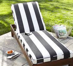 Pottery Barn Black and White Striped Chaise Cushion Home Decorators Martha Stewart Living Lake Adela Chaise Cushion copy cat chic - Pottery Barn Pool Furniture, Outdoor Furniture, Furniture Design, Furniture Ideas, Outdoor Chaise Cushions, Chaise Lounges, Lounge Chairs, Pool Chairs, Secret Gardens