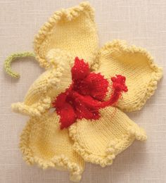 Hibiscus Flower made in Shepherd's Wool Spring Chick petals with Hot Pink center. Knitting Designs, Knitting Patterns Free, Knitting Projects, Crochet Patterns, Yarn Projects, Knitting Books, Knitting Yarn, Crochet Butterfly Pattern, Flower Bag