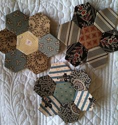 hexagon quilts | This would be a good way to do a memory quilt using men's ties.