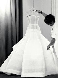 Inside the fashion Atelier - dressmaking; haute couture fashion studio // Dior