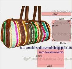 PASSO A PASSO MOLDE DE SACO/BOLSA Corte dois retângulos de tecido com a altura e largura que pretende para as laterais da bolsa. Desenhe as laterais do sac