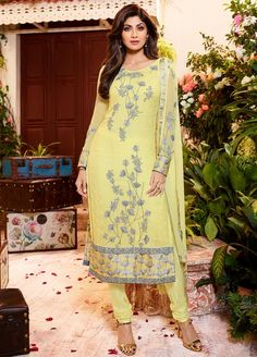 Delightful Yellow Georgette Casual Straight Cut Suit Featuring Shilpa Shetty