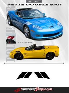 Vehicle Specific Style Chevy Corvette HASH MARKS Double Bar Hood and Fender Stripes Vinyl Graphic Decals Year Fitment 2005 2006 2007 2008 2009 2010 2011 2012 20