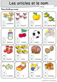 Les articles et le nom Learning French For Kids, Teaching French, Kids Learning, French Language Lessons, French Lessons, English Language, French Education, Kids Education, French Course