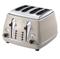 Delonghi Icona stylish 4 Slice Toaster in Beige