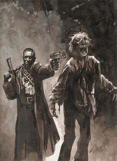 Punisher vs Zombie by J K Woodward Comic Art