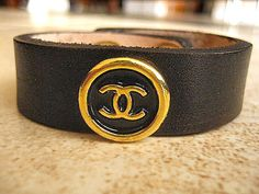Chanel Logo Vintage Re Purposed On Leather Cuff Bracelet Whole Priced By Celebritytrendz 68 00