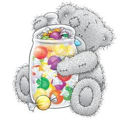 Cheerful tatty teddy with candy container