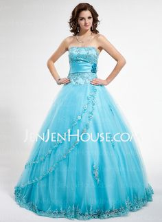 Quinceanera Dresses - $174.49 - Ball-Gown Strapless Floor-Length Satin Tulle Quinceanera Dresses With Lace Beading (002012796) http://jenjenhouse.com/Ball-Gown-Strapless-Floor-Length-Satin-Tulle-Quinceanera-Dresses-With-Lace-Beading-002012796-g12796