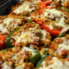 best stuffed pepper recipe. i add cheese inside of them too