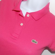 LACOSTE PINK 2 BUTTON short sleeve STRETCH PIQUE POLO t-shirt top 34 2 XXS #Lacoste #PoloShirt #Casual - SOLD
