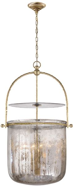 Visual Comfort CHC 2270GI-MG E. F. Chapman Traditional Lorford Smoke Bell Lantern in Gilded Iron with Mercury Glass | FoundryLighting.com
