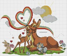 Bambi Disney, Rooster, Cross Stitch, Teddy Bear, Kids Rugs, Embroidery, Christmas Ornaments, Holiday Decor, Animals