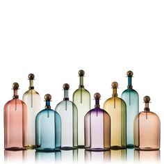 hand blown glass Elegante Bottles in all the smoky colors http://www.vetrovero.com/store/p36/Smoky_Elegante_Bottles.html
