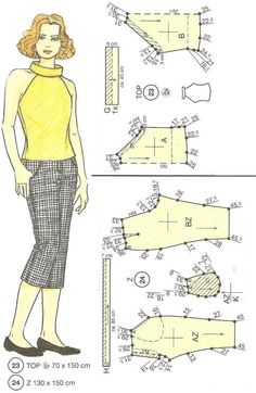 23, 24 (Ya impreso) Vintage Dress Patterns, Barbie Patterns, Clothing Patterns, Sewing Patterns, Diy Couture, Couture Tops, Sewing Clothes, Diy Clothes, Blouse And Skirt