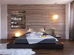Modern Minimalist Bedroom Design Ideas Black platform bed wood clad bedroom wall Easy to Build DIY Platform Bed Designs Dream Bedroom, Home Bedroom, Bedroom Decor, Bedroom Ideas, Bedroom Inspiration, Master Bedroom, Wooden Bedroom, Bedroom Black, Bedroom Lamps