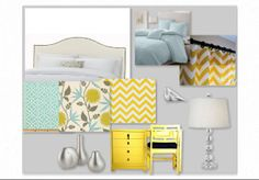 tiffany blue and yellow  like my kitchen and living room... p.s. i totally have that lamp!