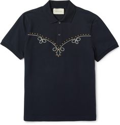 Shop Gucci Studded Embroidered Stretch-cotton PiquÉ Polo Shirt from stores. Polo Shirt Embroidery, Mens Designer Polo Shirts, Pique Polo Shirt, Biker Style, Gucci Men, Polo Ralph Lauren, Man Shop, Mens Fashion, Suits