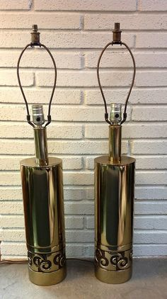 """Lighting that completes a room....  Pair of tall Mid Century brass table lamps  30""""H  5.25""""D"""