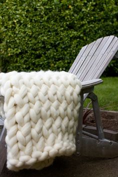 Super Chunky Knit Throw Blanket Wool by aroving on Etsy, $180.00