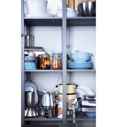 Open storage with IVAR shelf unit that has been painted grey - Home and Garden Design Ideas