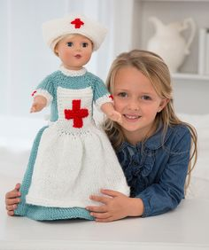 Craft Passions: Caring Nurse Doll to Knit# free # knitting pattern. Knitting Patterns Free, Knit Patterns, Free Knitting, Free Pattern, Baby Knitting, All Free Crochet, Crochet For Kids, Knit Crochet, Red Cross Volunteer