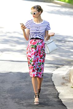 Mix stripes and splashy florals for a double dose of springtime prints.